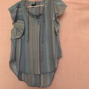 Blue and white striped frilly dress shirt